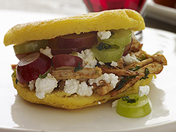 Chicken and grape arepas