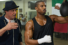 """SYLVESTER STALLONE as Rocky Balboa and Michael B. Jordan as Adonis Johnson in Metro-Goldwyn-Mayer Pictures', Warner Bros. Pictures' and New Line Cinema's drama """"CREED,"""" a Warner Bros. Pictures release."""