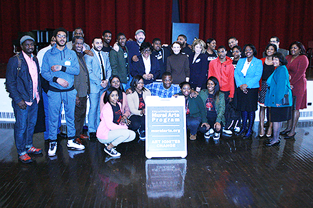 Rep. Joanna McClinton D-Phila./Delaware, joins students and others who participated in the mural dedication ceremony.