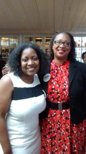 Phila. Black PR Society President, Monica Peters congratulated by Democratic National Convention Committee advisor Desiree Peterkin Bell