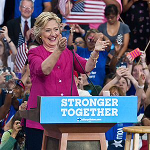 Democratic presidential nominee Hillary Clinton greets crowds at Temple University last Friday.  (Photo by Bill Z. Foster)