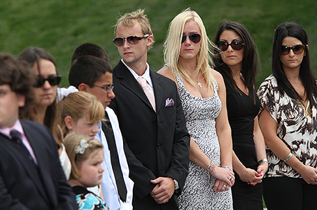Children of the victims of the 9/11 attacks participate in the New Jersey Empty Sky memorial dedication at Liberty State Park in Jersey City on Saturday, Sept. 10, 2011. (AP Photo/The Jersey Journal, Andrew Miller)