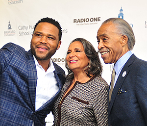 Award-winning Actor Anthony Anderson, Radio One, Inc. Founder and Chairperson Cathy Hughes, and civil rights activist and television host Rev. Al Sharpton at the Cathy Hughes School of Communications at Howard University Celebratory Brunch at Howard University on Sunday October 23, 2016 in Washington.