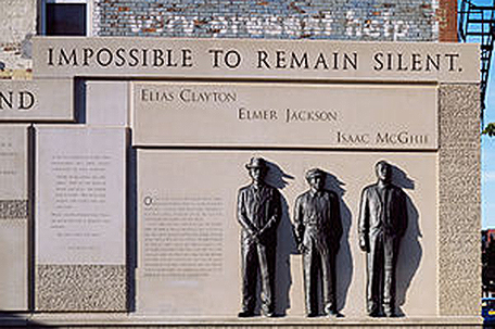 Memorial to Elias Clayton, Elmer Jackson and Isaac McGhee, three Black men who were lynched in Duluth, Minn.