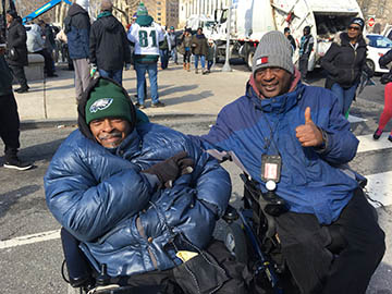 fans Raymond Rayford and Russell McClellan out and about enjoying the Eagles Super Bowl LII parade celebration. Photo courtesy: Chris Murray